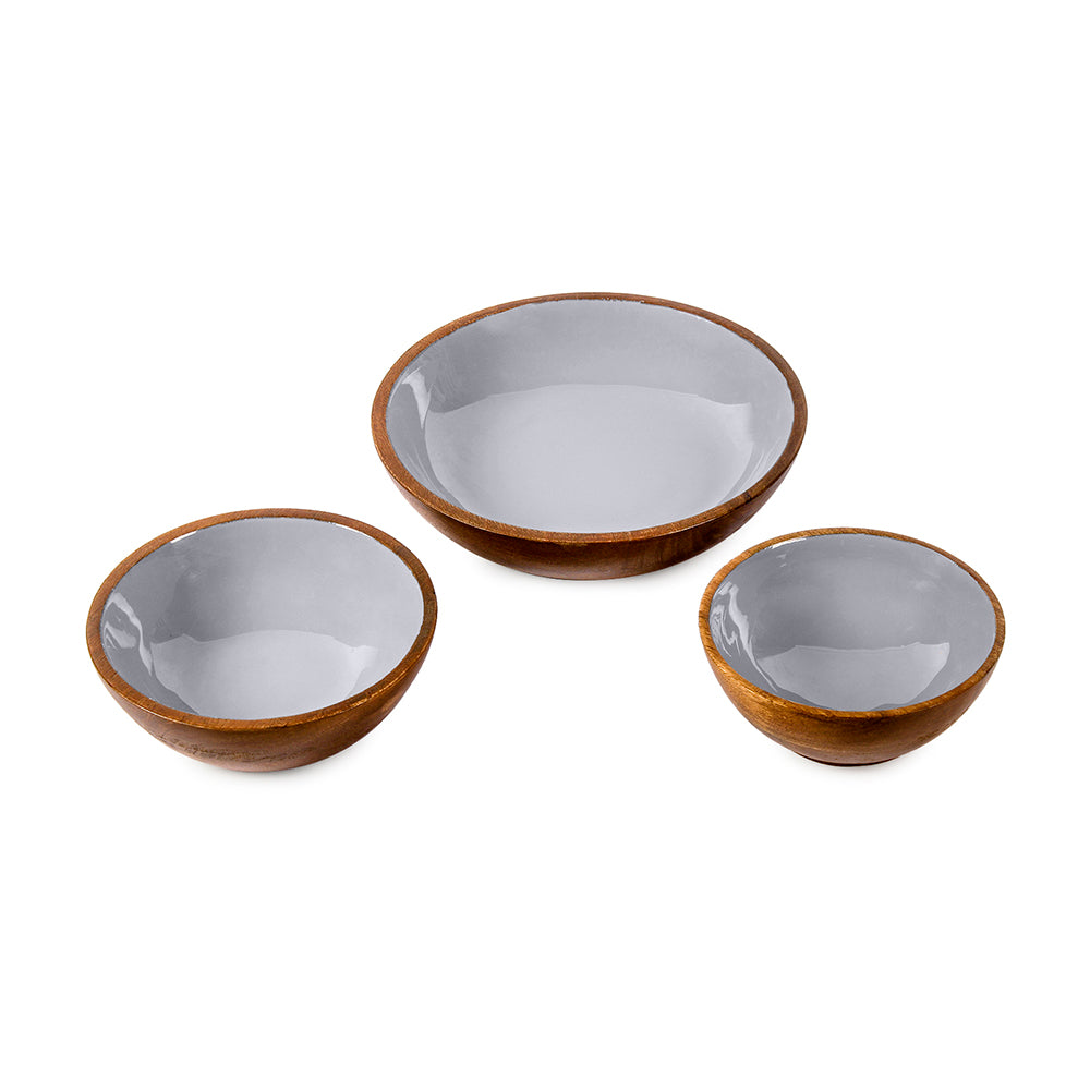 Elephant Grey Wooden Serving Bowls in 3 Sizes