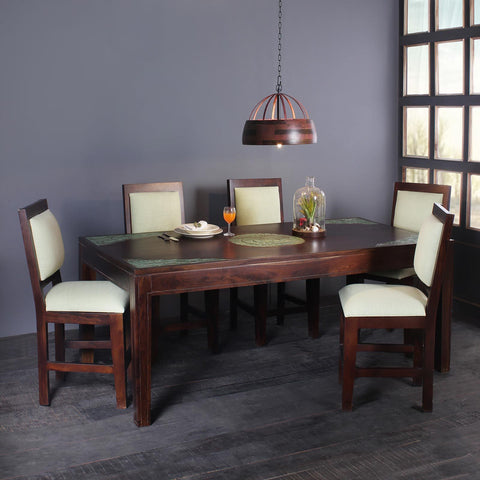 Raidon Solid Wood Six Seater Dining Tables Sets