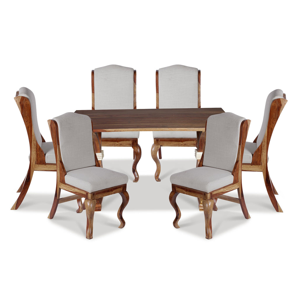 Nicole Solid Wood Six Seater Dining Set