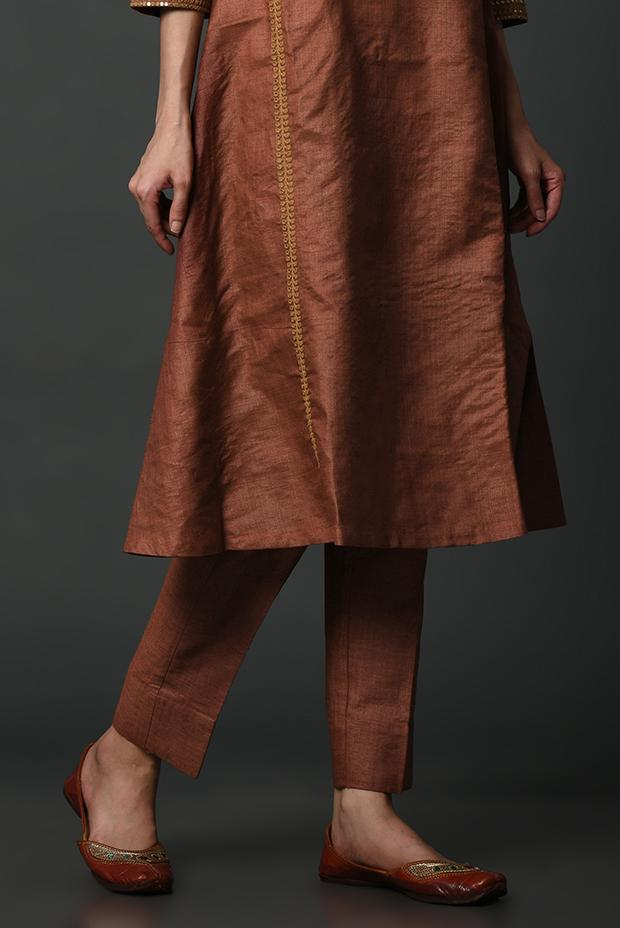 Rust Pure Tussar Silk Pants