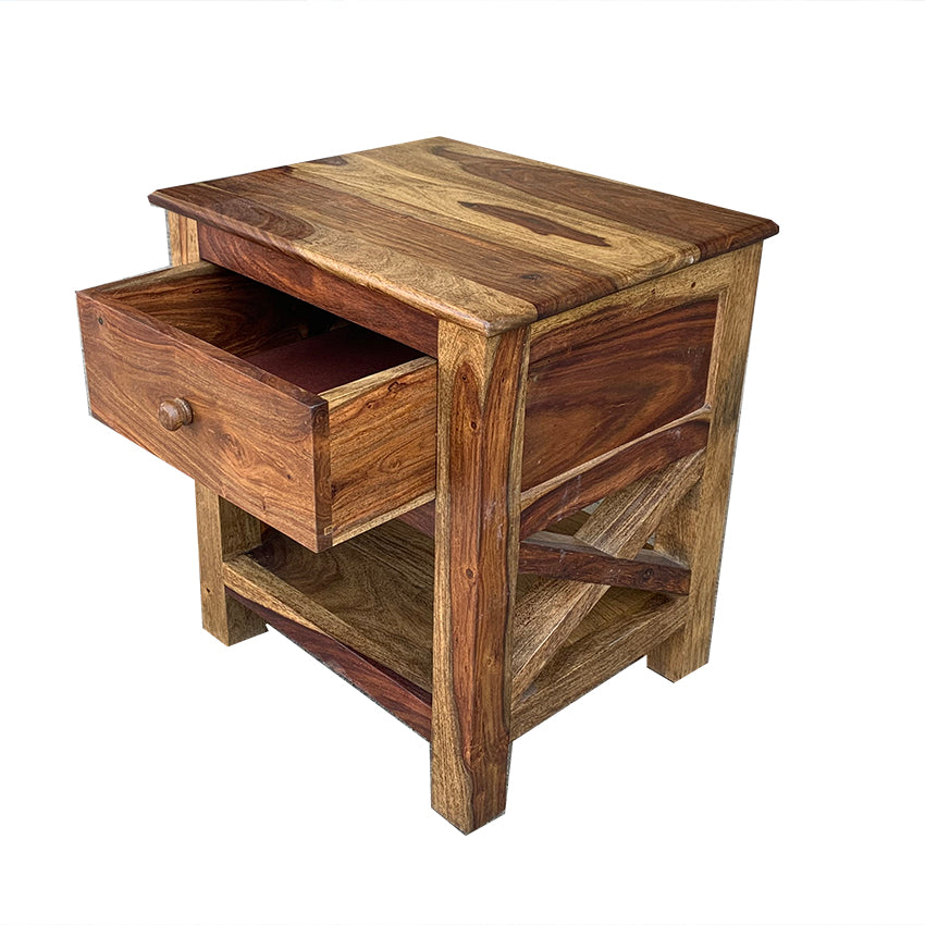 Alaca Solid Wood Bedside Table