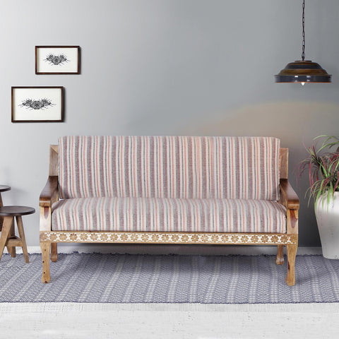 Olivia Solid Wood Hand Carved Three Seater Sofa