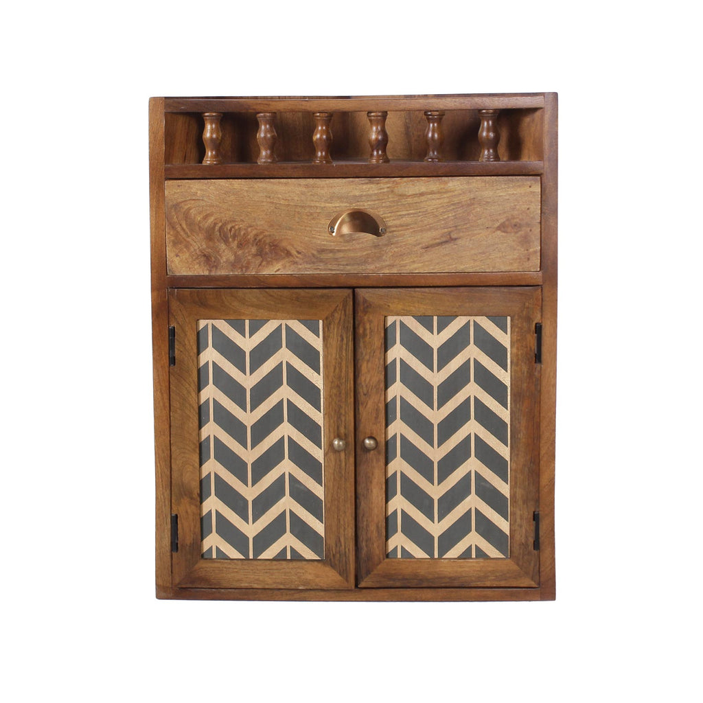 Vanora Solid Wood Bathroom Wall Shelf with Drawer