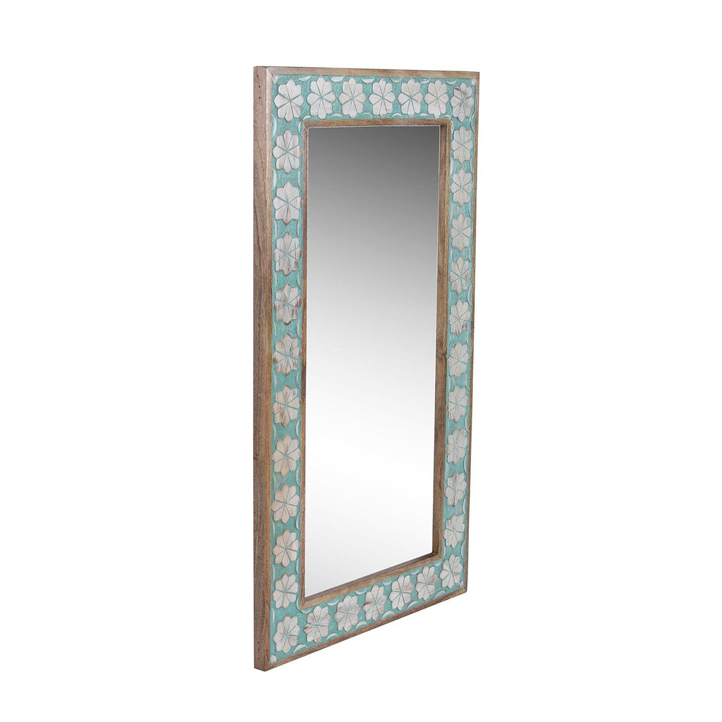 Zoe Solid Wood Hand Carved Mirror in Vintage Green