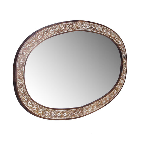 Zoe Solid Wood Hand Carved Ovel Mirror