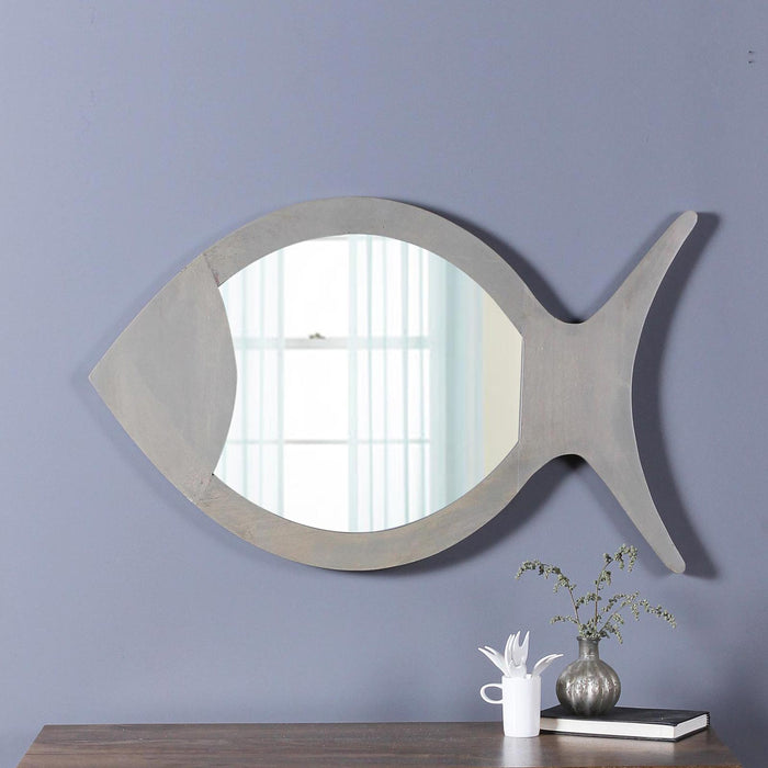Ines Solid Wood Hand Carved Wall Mirror in Grey