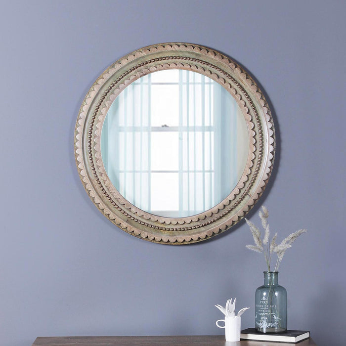 Emma Solid Wood hand Carved Round Mirror