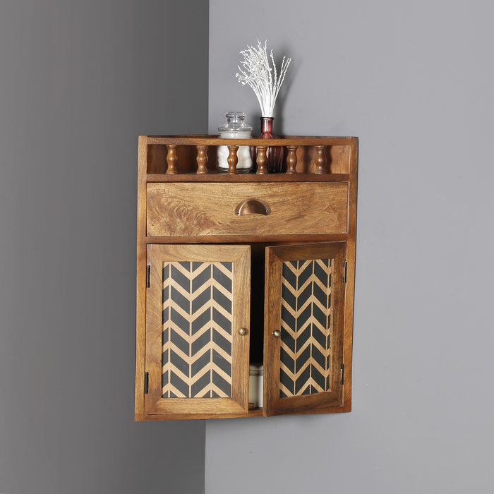 Vanora Solid Wood Wall Shelf with Drawer
