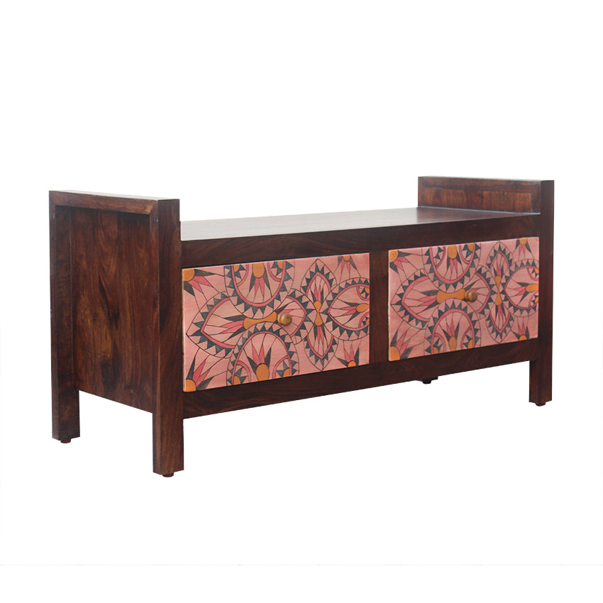 Andros Solid Wood 2 Drawer Bench