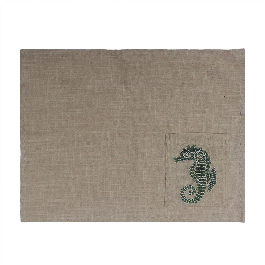 Sea horse Hand Embroidered Table Mat with Cutlery Pocket set of 4