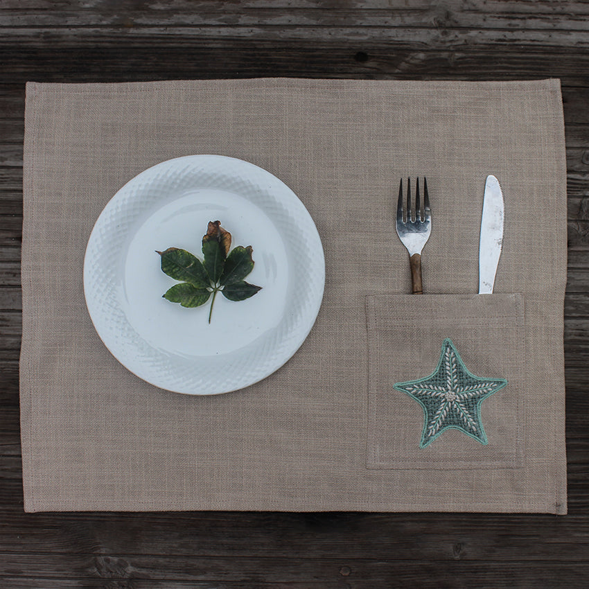 Star fish Hand Embroidered Table Mat with Cutlery Pocket set of 4