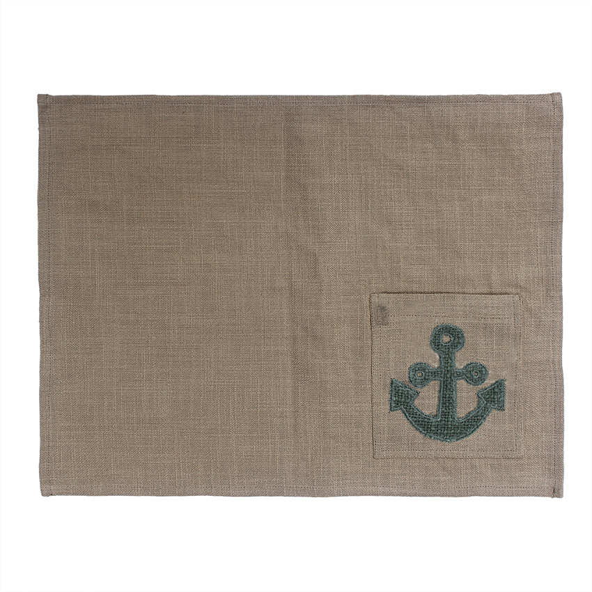 Anchor Hand Appliqued Table Mat with Cutlery Pocket set of 4