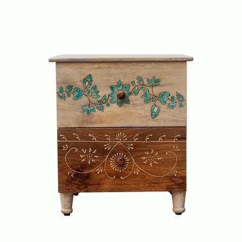 Athens Solid Wood Bedside Table with Drawers