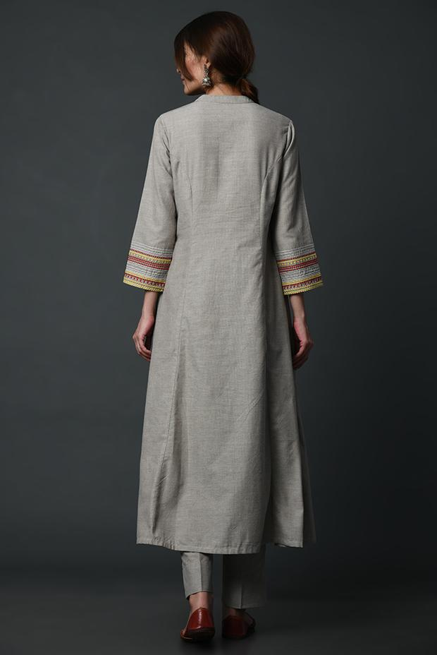 Grey linen straight kurta with sleeve detailing
