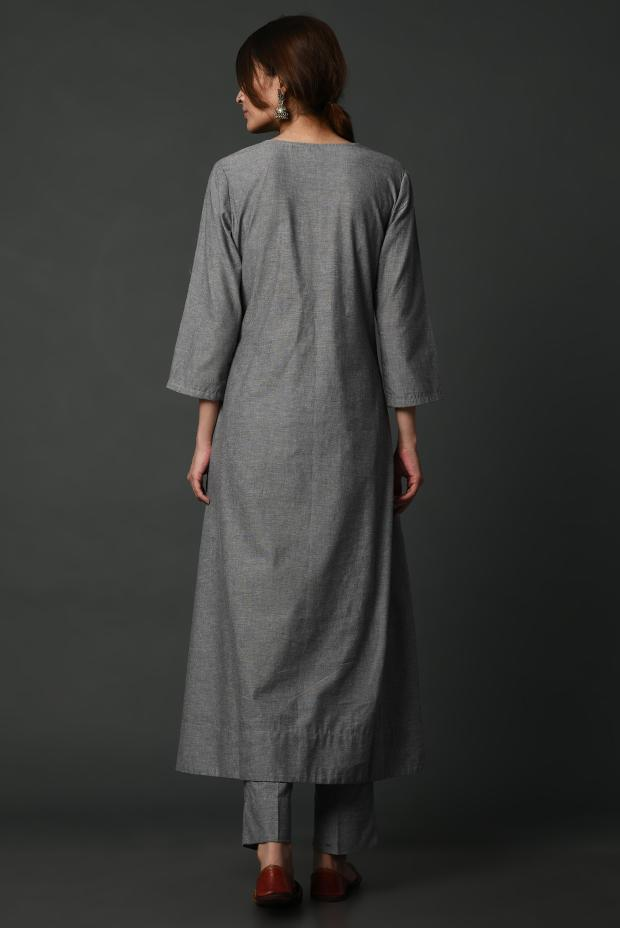 Assymetric grey on grey hand embroidered flared kurta