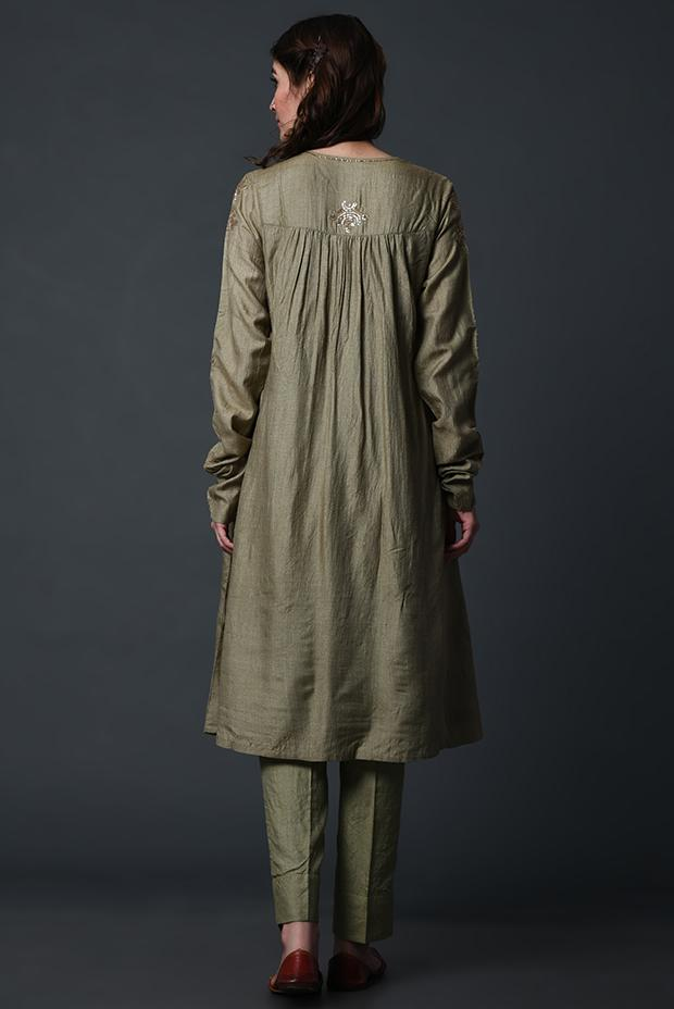 Olive green tussar silk kurta with gold detailing