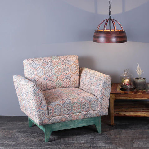Victoria Solid Wood One Seater Sofa