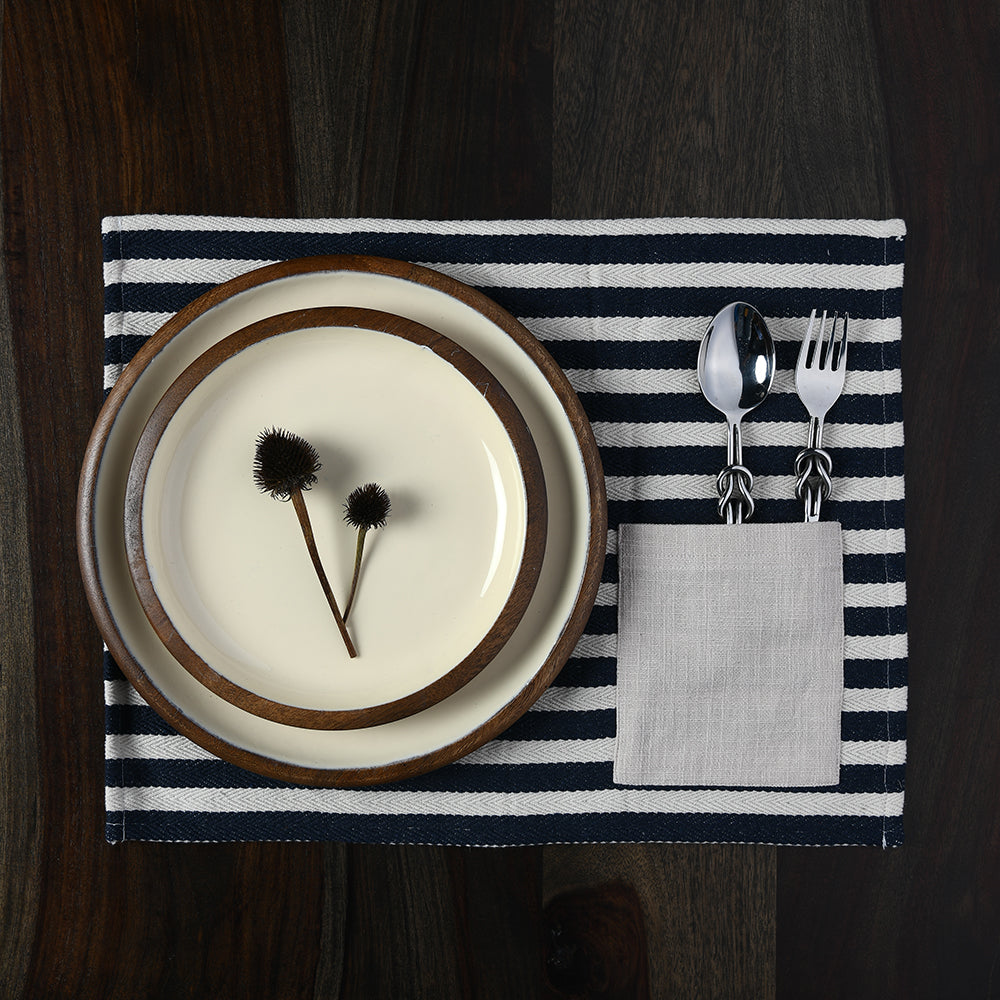 Indigo Striped Table Mat with Cutlery Pocket set of 6