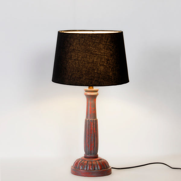 Arwen Antique Red Wood Table Lamp