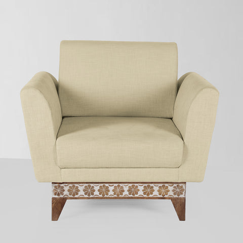 David Solid Wood Hand Carved One Seater Sofa