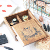 French wooden box with 4 compartments