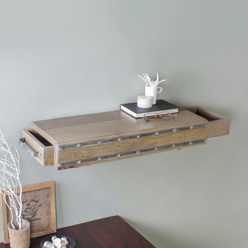 Bernard Wall Shelf with Side Drawers