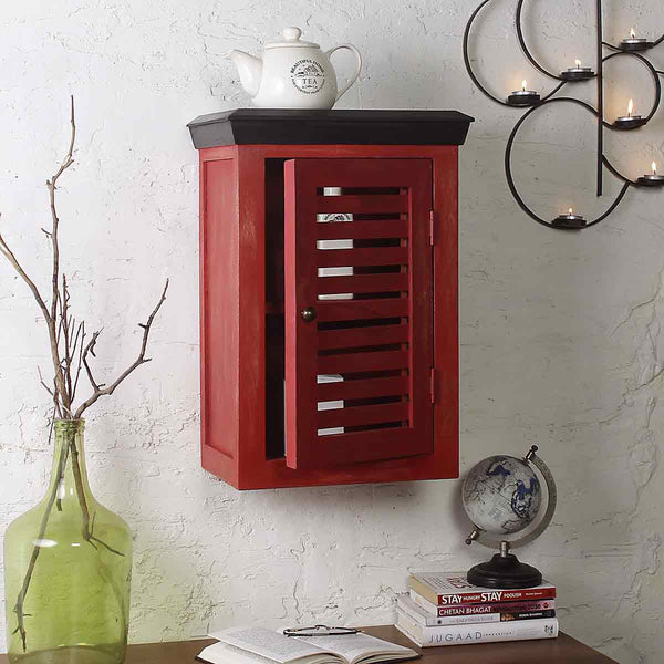 Cappi Solid Wood Distress Red Wood Wall Shelve 1