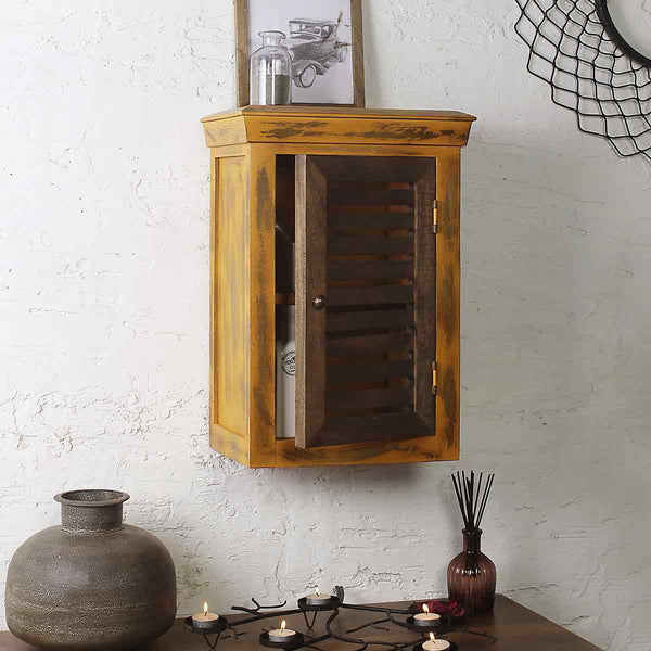 Cappi Solid Wood Distress Yellow Wall Shelve 1