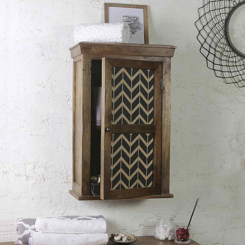 Solid Wood hand Painted Bath Cabinet 1
