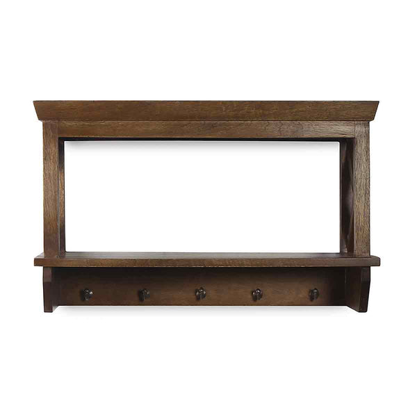 Alonza Solid Wood Wall Shelve with hooks 2