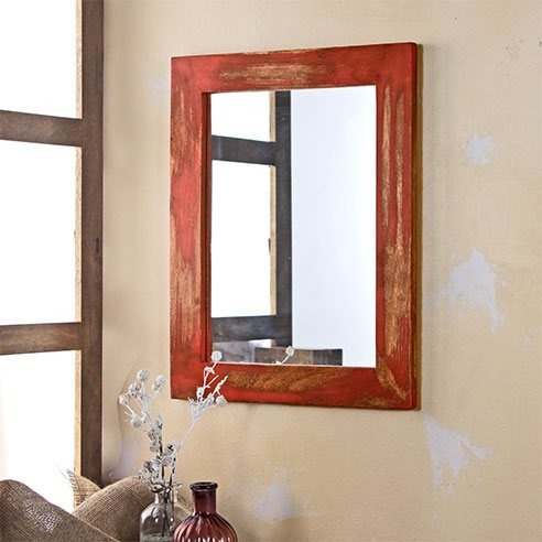 Solid Wood Red Distress Bathroom Mirror