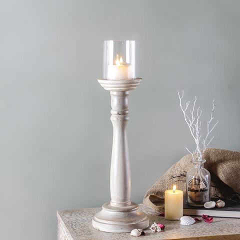 Duval White Candle Holder