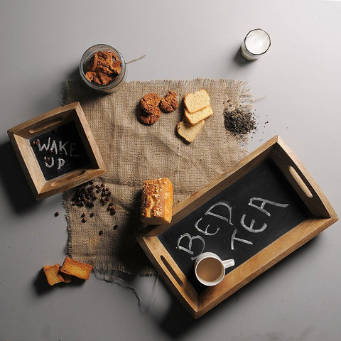 Chalk Board Bed Tea Tray Set of 2