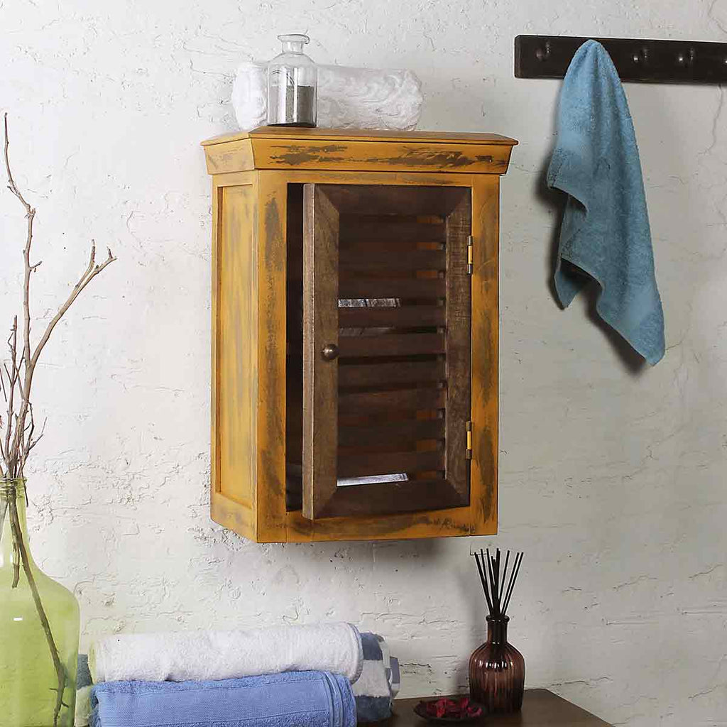 Solid Wood Distress Yellow Bath Cabinet 1