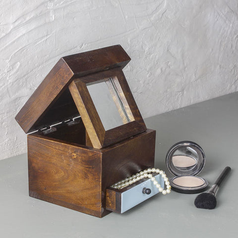 Walnut Wooden Trinklet Box with Mirror