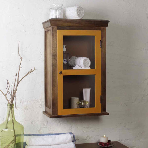 Solid Wood Vintage Yellow Bathroom Cabinet 1