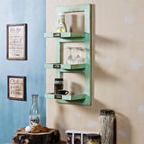 Turquoish wooden wall shelf small