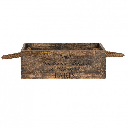 FABULIV Paris Walnut Distress Wooden Bucket