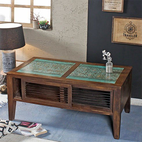 Seba Teal Hand Painted Coffee Table