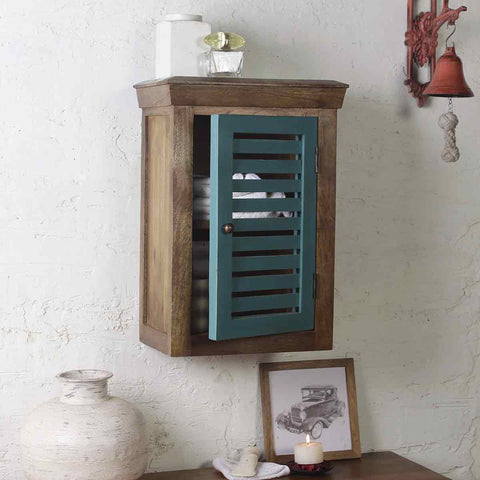 Solid Wood Vintage Blue Bath Cabinet 1