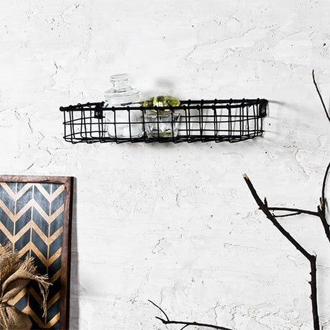 Handmade Black Wall Bath Shelf