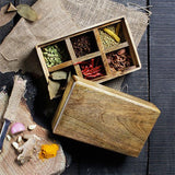 Natural wooden box with 6 compartments