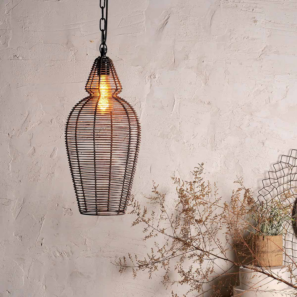 Rust finish Wire Pendant Lamp