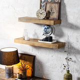 Wood Natural Wall Shelves Set of 2