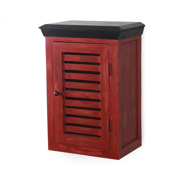 Cappi Solid Wood Distress Red Wood Wall Shelve 4