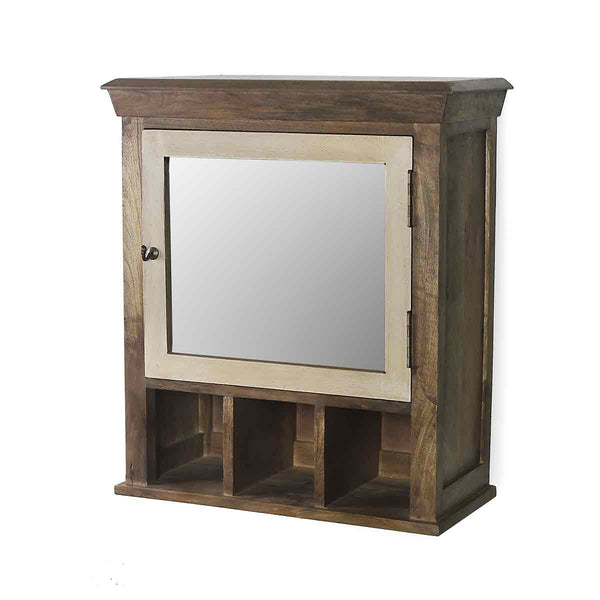 Solid Wood Vintage White Bathroom Cabinet with Mirror 4