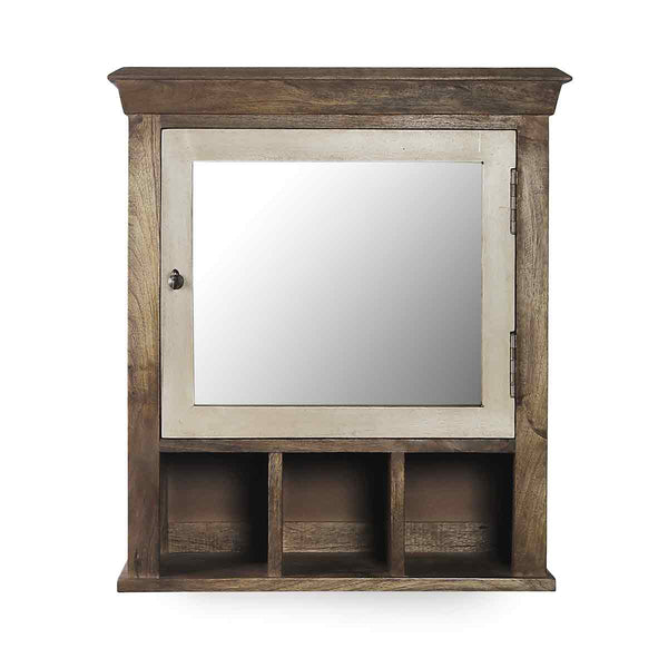 Solid Wood Vintage White Bathroom Cabinet with Mirror 2