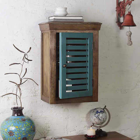 Cappi Solid Wood Vintage Green Wall Shelve