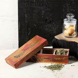 Distress red wooden box with 3 compartments