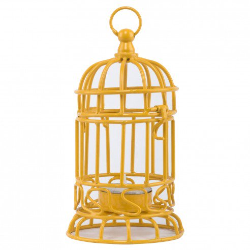 Bird Cage Yellow Candle Holder Set of 2+1